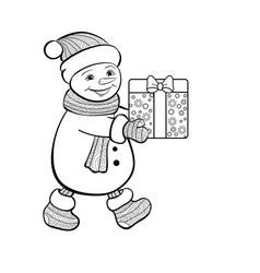 christmas funny snowman vector image vector image