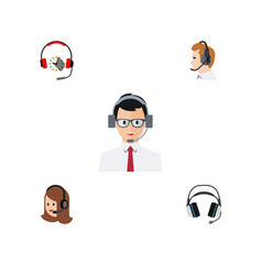 flat call set of headphone help service and vector image vector image