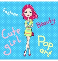 Pop Art cute fashion girl vector image vector image