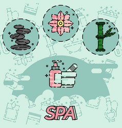 spa flat concept icons vector image