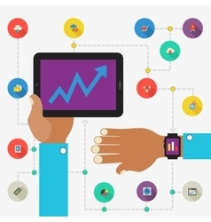 Wearable technology concept SEO monitoring app vector image vector image