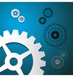 Abstract Paper Cogs Gears on Blue Background vector image
