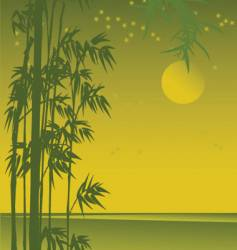 asian sunset view with bamboo vector image vector image