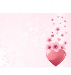 love heart and cherry blossom vector image vector image