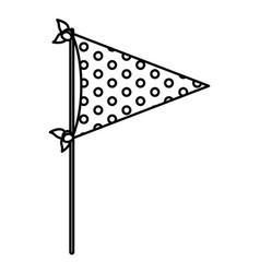 monochrome silhouette of decorative flags party vector image
