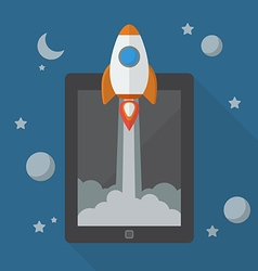 Rocket launching from tablet vector image