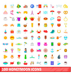100 honeymoon icons set cartoon style vector image vector image
