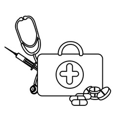 figure suitcase health with stethoscope syringe vector image vector image