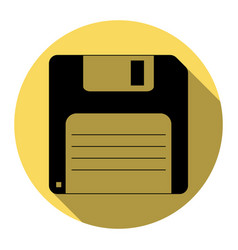 floppy disk sign flat black icon with vector image