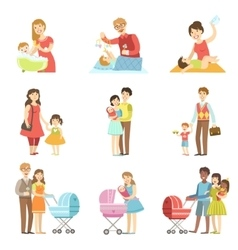 Happy families with kids and babies vector
