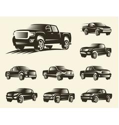 isolated monochrome pickup trucks logo set cars vector image