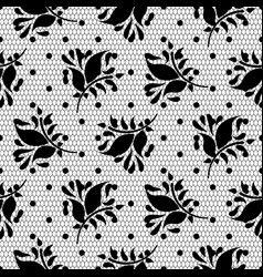 lace floral black seamless pattern vector image