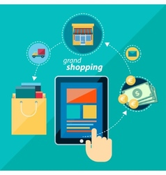shoping flat icon vector image vector image