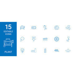 15 plant icons vector