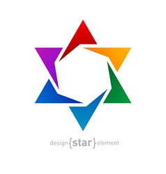 Abstract design element rainbow star on white vector image