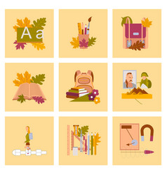 assembly flat icons the first of september vector image