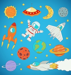 astronaut planets rockets vector image