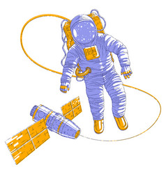 astronaut went out into open space connected to vector image