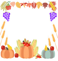 autumn leaves and pumpkin vector image