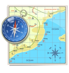 Beach Map with Compass vector
