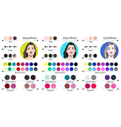 Best colors for winter type female appearance vector