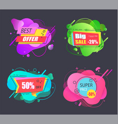 big super price sell offer liquid tags set vector image