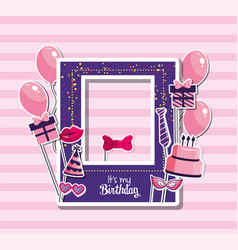 Birthday frame with balloons and cake decoration vector