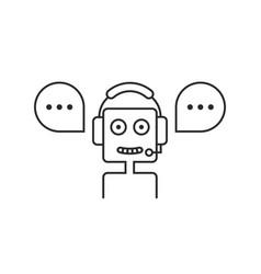 Black thin line chatbot hotline service vector
