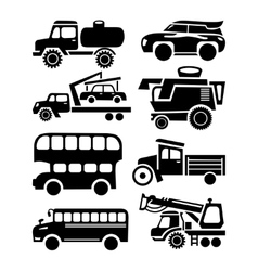Car icon black transport set vector