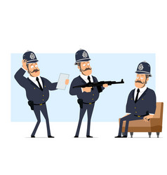 Cartoon flat funny fat british policeman character vector