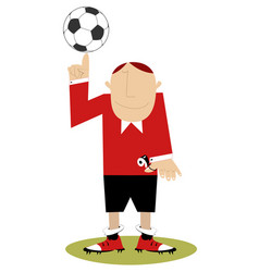 Cartoon referee with whistle and football vector