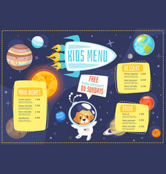 Children menu meal template vector