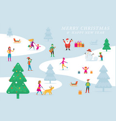 Christmas people in action activity outdoor vector