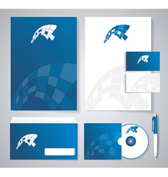 Classic stationery template design Blue corporate vector image