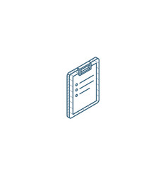 clipboard to-do list plan isometric icon 3d line vector image