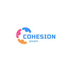 cohesion people abstract isolated logo vector image