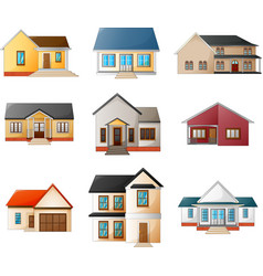 collection of different houses on a white backgrou vector image