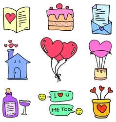 Collection of love set doodles vector