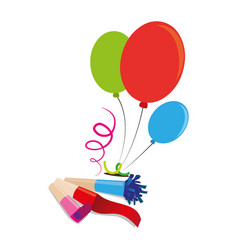 Color silhouette with balloons and party blower vector