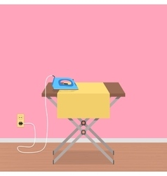 concept of house work with ironing board and vector image