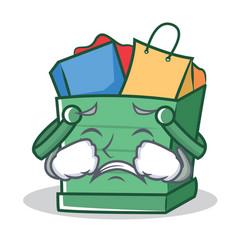 crying shopping basket character cartoon vector image