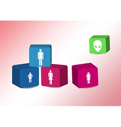 Cubes with family silhouettes vector image