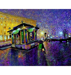 Digital painting of night Kyiv city vector