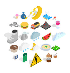 electricity icons set isometric style vector image