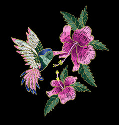 embroidery hummingbird hibiscus vector image