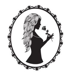 female silhouette with long hair holds a rose vector image