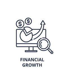 financial growth line icon concept financial vector image