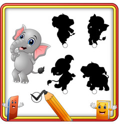 Find the correct shadow cartoon funny baby elepha vector