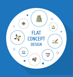 Flat icons design income discussion and other vector