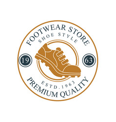 Footwear store logo premium quality estd 1963 vector